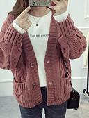 tanie Swetry damskie-Damskie Wyjściowe W serek Sweter rozpinany Solidne kolory Długi rękaw / Wiosna / Zima