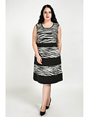 cheap Women's Dresses-Cute Ann Women's Plus Size Cute A Line Dress - Color Block, Racerback