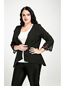 cheap Women's Blazers & Jackets-Cute Ann Women's Cute Street chic Plus Size Blazer-Solid Colored,Lace Shirt Collar