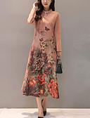 baratos Vestidos de Mulher-Feminino Evasê Bainha Vestido,Feriado Para Noite Geométrica Colarinho Chinês Médio Manga Longa Outros Outono Inverno Cintura Média