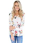 baratos Biquínis e Roupas de Banho Femininas-Mulheres Camiseta - Feriado / Para Noite Floral Decote V / Outono