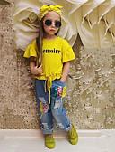 Χαμηλού Κόστους Βρεφικά φορέματα-Νήπιο Κοριτσίστικα Μονόχρωμο Κοντομάνικο Κανονικό Κανονικό Βαμβάκι Σετ Ρούχων Κίτρινο