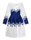 cheap Girls' Dresses-Kids Girls' Casual Daily / Holiday Print Long Sleeve Cotton / Polyester Dress Blue / Cute