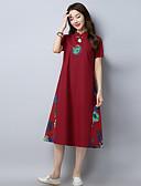 preiswerte Damen Kleider-Damen Baumwolle Etuikleid Kleid Stickerei Midi Ständer
