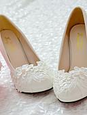 preiswerte Hochzeitskleider-Damen Schuhe Spitze PU Frühling Herbst Komfort Hochzeit Schuhe Runde Zehe Strass Applikation Perlenstickerei Imitationsperle Spitze Für
