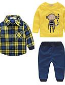 cheap Women's Sweaters-Boys' Stripe Clothing Set, Cotton Fall Long Sleeves Check Yellow