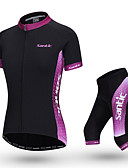 cheap Women's Blouses-SANTIC Women's Short Sleeve Cycling Jersey with Shorts - Pink Bike Clothing Suit Breathable Sports Polyester Solid Color Mountain Bike MTB Road Bike Cycling Clothing Apparel / Stretchy / Advanced