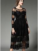 baratos Vestidos de Mulher-Mulheres Feriado / Para Noite Sofisticado Bainha / balanço Vestido Sólido Gola Alta Médio
