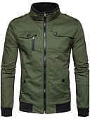 cheap Men's Jackets & Coats-Men's Street chic Jacket - Solid Colored Stand / Long Sleeve
