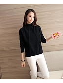 cheap Party Dresses-Women's Daily Solid Colored Long Sleeve Regular Pullover, Turtleneck Fall Cotton Beige / Gray / Wine S / M / L