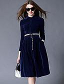 baratos Cintos de Moda-Mulheres Evasê Vestido Sólido Colarinho de Camisa Cintura Alta Médio / Outono / Inverno