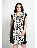 baratos Vestidos Femininos-Mulheres Tamanhos Grandes Vintage / Moda de Rua Algodão Reto Vestido Floral Decote V Altura dos Joelhos