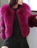 baratos Trench Coats e Casacos Femininos-Mulheres Casaco de Pêlo Para Noite Sólido Decote V Detalhes em Pêlo
