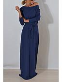abordables Vestidos de Mujeres-Mujer Noche Corte Ancho Vestido Un Color Maxi Hombros Caídos
