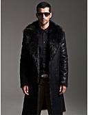 cheap Men's Jackets & Coats-Men's Long Faux Fur / Faux Leather Fur Coat - Solid Colored Shirt Collar / Long Sleeve
