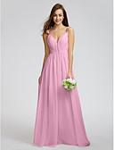 tanie Print Dresses-Próbka produktu Krój A / Księżniczka Cienkie ramiączka Sięgająca podłoża Szyfon Sukienka dla druhny z Drapowania boczna / Krzyżowe przez LAN TING BRIDE®
