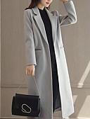 preiswerte Damenmäntel und Trenchcoats-Damen Solide Einfach Freizeit Alltag Mantel,Hemdkragen Winter Herbst Langärmelige Lang Wolle Polyester