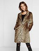 baratos Trench Coats e Casacos Femininos-Mulheres Casaco de Pêlo Leopardo, Algodão