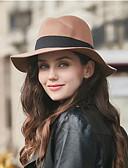 olcso Női kalapok-Női Tömör Ősz Pamut Pamut keverék Fejfedők Széles karimájú kalap Tiszta szín Fekete Teveszín