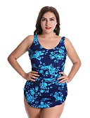 cheap Women's Swimwear & Bikinis-Women's Strap Blue Green Purple One-piece Swimwear - Solid Colored / Floral Print XXL XXXL XXXXL