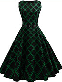 cheap Women's Dresses-Women's Going out Vintage Cotton A Line Dress - Check Print / Summer