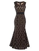 preiswerte Damen Kleider-Damen Ausgehen Aktiv A-Linie / Swing Kleid - Spitze, Solide Maxi V-Ausschnitt Schwarz