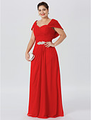 cheap Mother of the Bride Dresses-Sheath / Column Off Shoulder Floor Length Chiffon Mother of the Bride Dress with Ruched Crystal Brooch Criss Cross by LAN TING BRIDE®