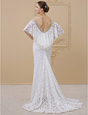 cheap Wedding Dresses-Sheath / Column Straps Chapel Train All Over Lace Made-To-Measure Wedding Dresses with Ruffles by LAN TING BRIDE® / Open Back