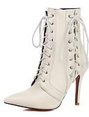 ieftine Pantaloni de Damă-Pentru femei Pantofi Materiale Personalizate / Imitație de Piele Toamnă / Iarnă Confortabili / Noutăți Cizme Vârf ascuțit Cizme Medii Alb