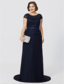 cheap Mother of the Bride Dresses-Plus Size A-Line Jewel Neck Floor Length Sweep / Brush Train Chiffon Sequined Glitter Lace Mother of the Bride Dress with Sequin by LAN TING BRIDE®