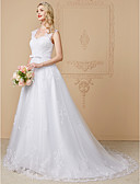 cheap Wedding Dresses-A-Line Sweetheart Neckline Court Train Lace Over Tulle Made-To-Measure Wedding Dresses with Bowknot / Appliques / Buttons by LAN TING BRIDE® / See-Through / Beautiful Back