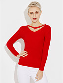 cheap Women's Sweaters-Women's Long Sleeve Cotton Pullover - Solid Colored V Neck / Fall / Winter