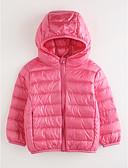 tanie Kurtki i płaszcze dla dziewczynek-Dzieci Dla dziewczynek Solidne kolory Długi rękaw Bawełna Odzież puchowa / pikowana Rumiany róż 140