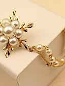 baratos Gravatas e Gravatas Borboleta-Mulheres Broches - Pérola Flor Simples, Elegante Broche Dourado Para Diário / Cerimônia