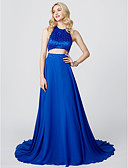 cheap Junior Bridesmaid Dresses-A-Line / Princess Jewel Neck Court Train Chiffon / Satin Two Piece Cocktail Party / Prom / Formal Evening Dress with Beading / Pleats by TS Couture®
