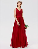 cheap Prom Dresses-A-Line / Princess V Neck Floor Length Chiffon / Lace Bridesmaid Dress with Lace / Sash / Ribbon / Criss Cross by LAN TING BRIDE®