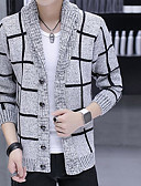 cheap Men's Sweaters & Cardigans-Men's Weekend Long Sleeve Long Cardigan - Check, Jacquard Shirt Collar