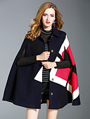 cheap Women's Coats & Trench coats-EWUS Women's Street chic Cloak/Capes-Color Block Shirt Collar