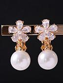 cheap Women's Nightwear-Women's Cubic Zirconia Clip Earrings - Flower Gold For Wedding / Daily