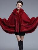 cheap Women's Tops-Women's Faux Fur Fur Coat - Solid Colored V Neck