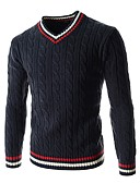 cheap Men's Sweaters & Cardigans-Men's Weekend Long Sleeves Pullover - Solid Colored Color Block V Neck