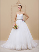 cheap Wedding Dresses-Ball Gown Strapless Chapel Train Tulle / Lace Over Tulle Made-To-Measure Wedding Dresses with Beading / Lace / Sashes / Ribbons by LAN