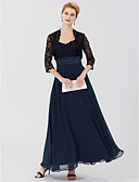 cheap Mother of the Bride Dresses-A-Line Princess Two Piece Straps Ankle Length Chiffon Sheer Lace Mother of the Bride Dress with Sash / Ribbon by LAN TING BRIDE®