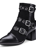 cheap Men's Pants & Shorts-Women's Shoes Leatherette Fall / Winter Fashion Boots / Bootie / Combat Boots Boots Pointed Toe Booties / Ankle Boots Buckle Black / Gray