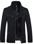 cheap Men's Jackets & Coats-Men's Daily / Going out / Weekend Military Fall / Winter Plus Size Regular Jacket, Solid Colored Standing Collar Long Sleeve Cotton / Acrylic Black / Army Green / Khaki M / L / XL
