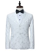 cheap Men's Jackets & Coats-Men's Daily Fall / Winter Regular Blazer, Jacquard Shirt Collar Long Sleeve Cotton Print White M / L / XL