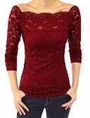 cheap Women's T-shirts-Women's T-shirt - Solid Colored Off Shoulder / Lace