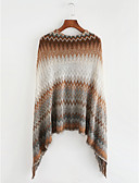 cheap Women's Sweaters-Women's Daily Striped / Color Block Long Sleeve Long Shrug, Round Neck Fall / Winter Camel / Gray One-Size