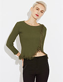 cheap Women's Sweaters-Women's Going out Street chic Long Sleeve Cotton / Acrylic Pullover - Solid Colored, Tassel / Fall / Winter