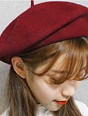 tanie Damskie czapki i kapelusze-Damskie Vintage Elegancki Fedora - Wełna, Solidne kolory
